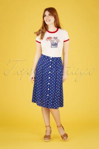 60s Juno Pablo Button Skirt in Midnight Blue