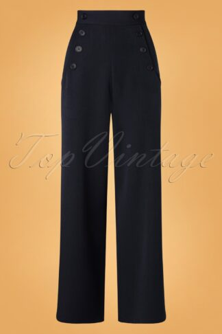 40s Carlie Swing Trousers in Navy