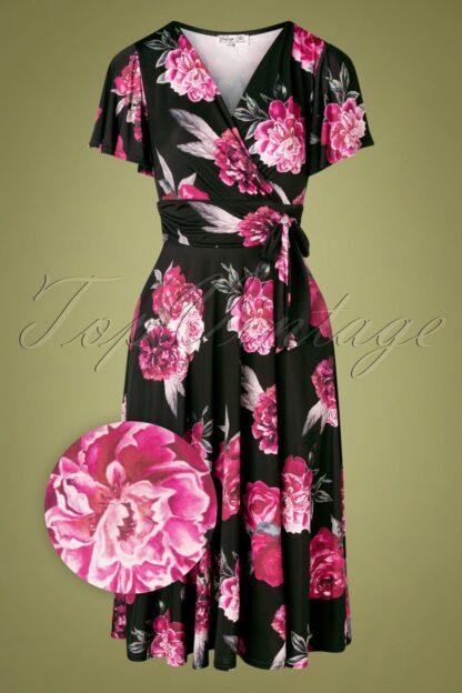 40s Irene Roses Cross Over Swing Dress in Black