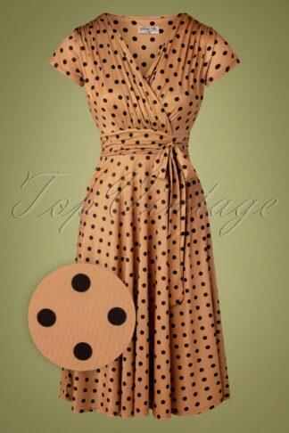 50er Caryl Polkadot Swing Kleid in Karamell