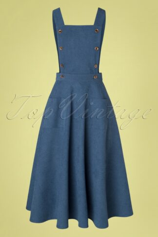 50s Book Smart Pinafore Swing Dress in Blue