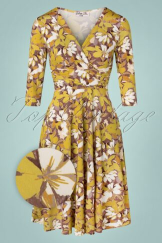 50s Carolina Floral Swing Dress in Ivory and Mustard