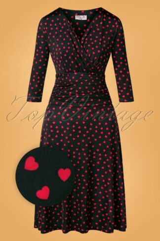 50s Carolina Hearts Swing Dress in Black and Red