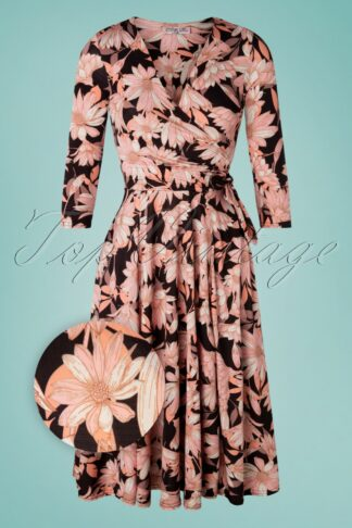 50s Colette Floral Swing Dress in Black and Pink