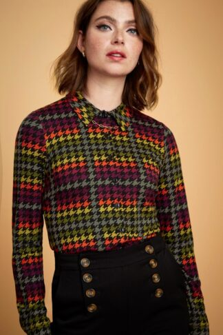 60s Houndstooth Blouse in Black Multi