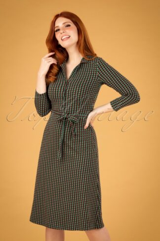 60s Lola Cricket Button Dress in Dragonfly Green