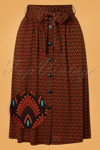 60s Lola Earl Grey Button Skirt in Brunette Brown