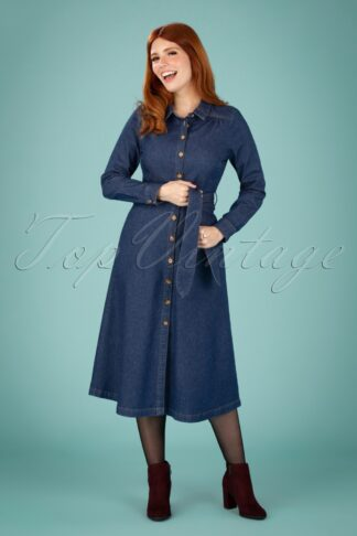 60s Olive Long Sleeve Chambray Dress in Denim Blue
