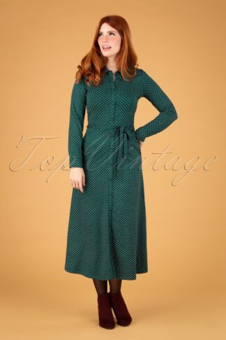 60s Olive Trifle Midi Dress in Dragonfly Green