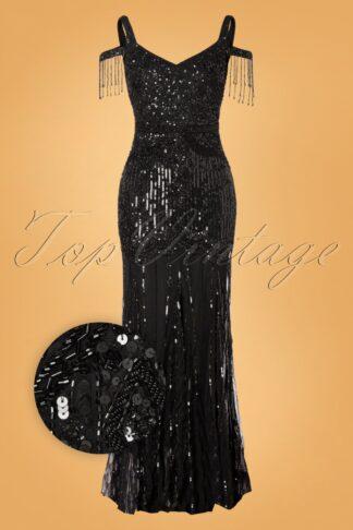 20er Chloe Sequin Maxi Kleid in Schwarz