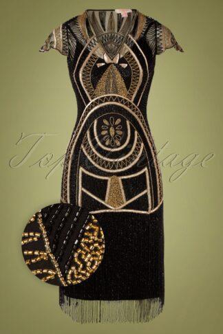 20er Mary Fringe Flapper Kleid in Schwarz