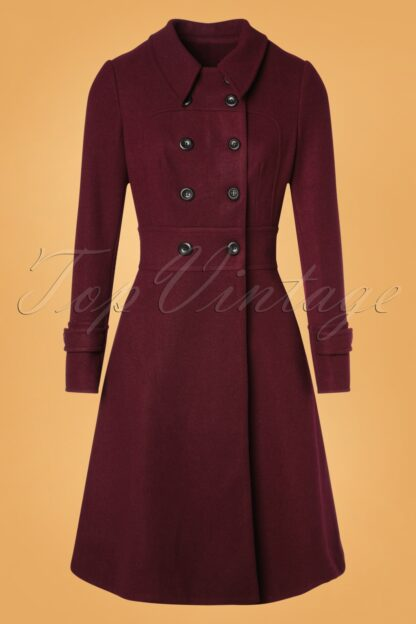 40s Grace Coat in Burgundy