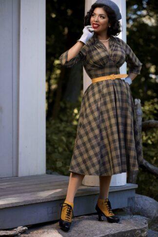 50er Alize Moss Karo Swing Kleid in Ocker