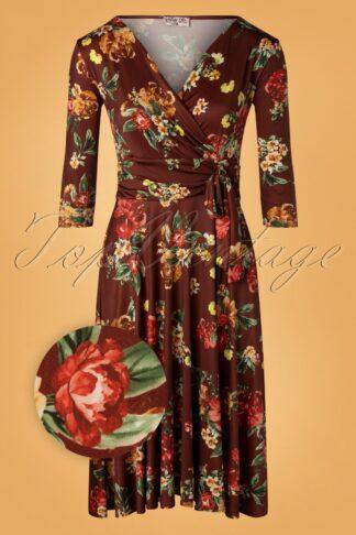 50er Caryl Floral Swing Kleid in Rotbraun