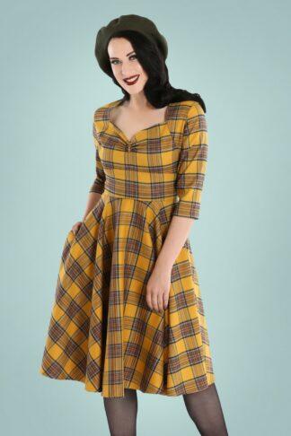 50er Dijon Swing Kleid in Senf