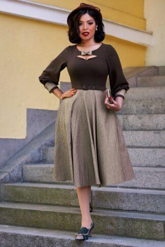 50er Dulcie Dora Streifen Swing Kleid in Braun