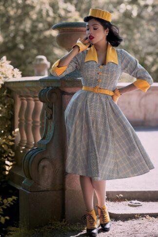 50er Esmee Sun Swing Kleid in Ockergelb