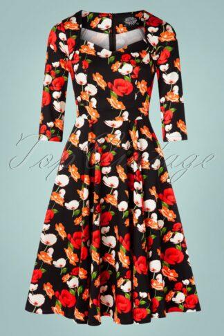50er Gwenly Floral Swing Kleid in Schwarz
