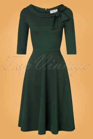 50s Beverly Swing Dress in Forest Green