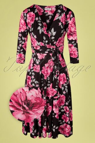 50s Caryl Floral Swing Dress in Black and Pink