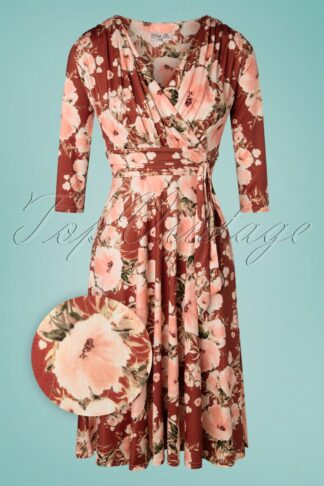 50s Caryl Floral Swing Dress in Cinnamon