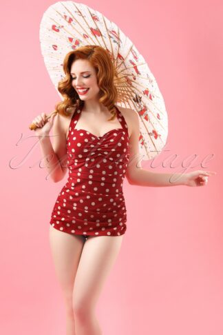 50s Classic Polkadot One Piece Swimsuit in Red and White