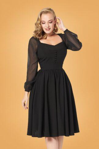 50s Dion Swing Dress in Black