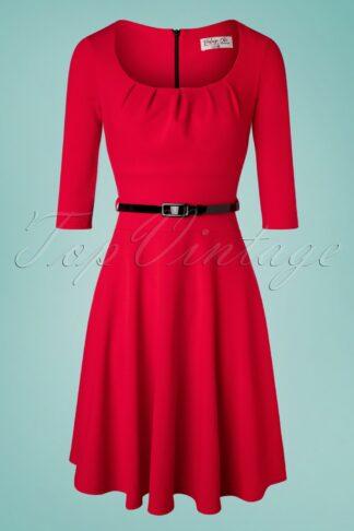 50s Felice Swing Dress in Lipstick Red