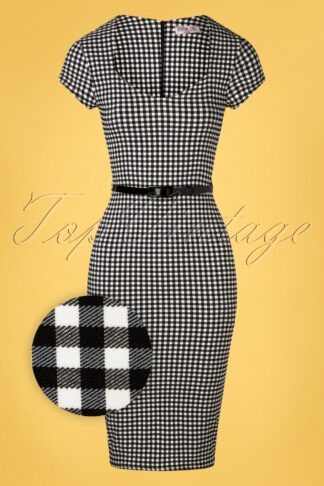 50s Ginny Gingham Pencil Dress in Black and White