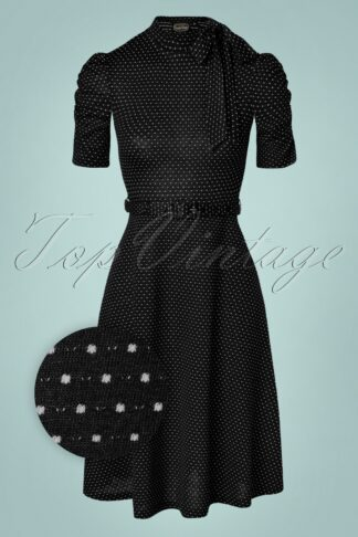 50s Posie Polkadot Swing Dress in Black