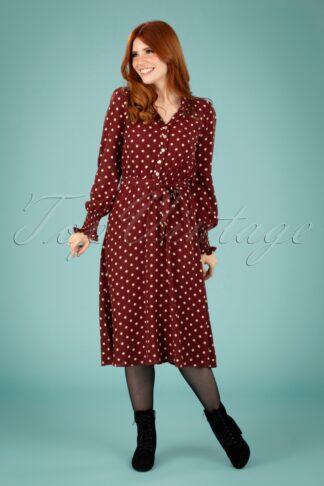 60er Emma Pablo Midi Kleid in Merlot Braun