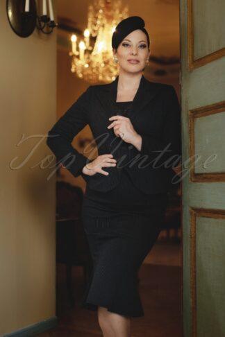 The Vedette Pinstripe Suit Blazer in Black