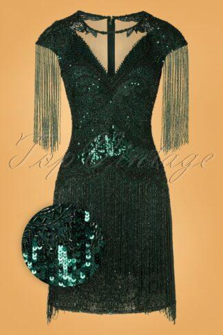 20er Sybill Fringe Flapper Kleid in Dunkelgrün