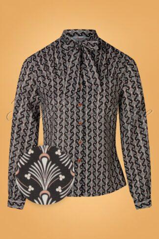 20er The Gatsby Bluse in Schwarz