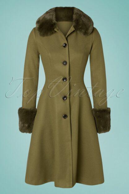 40s Erin Faux Fur Trim Coat in Olive