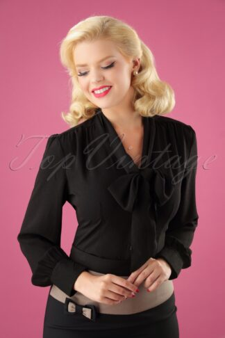 40s Madeline Blouse in Black