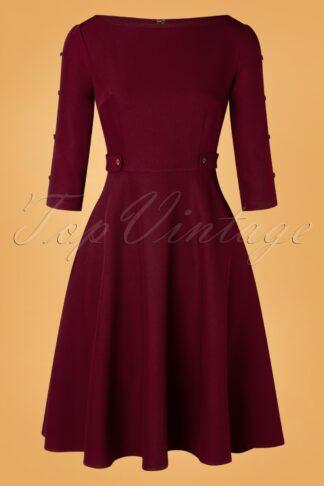 40s Queen Charm Swing Dress in Burgundy
