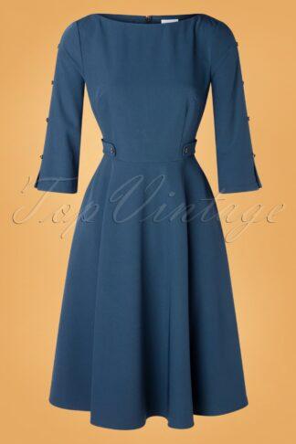 40s Queen Charm Swing Dress in Petrol Blue