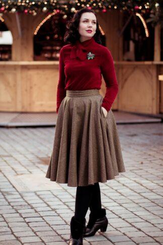 40s Sophie Wool Check Skirt in Brown
