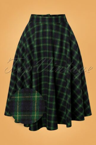 40s Sophie Wool Check Skirt in Forest Green