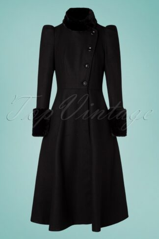 40s Violet Fur Trim Dress Coat in Black