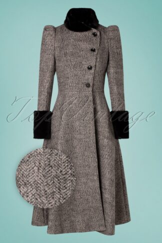 40s Violet Fur Trim Dress Coat in Grey