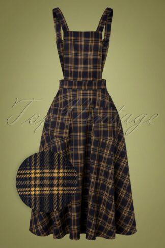 50er Adore Her Check Pinafore Kleid in Marineblau