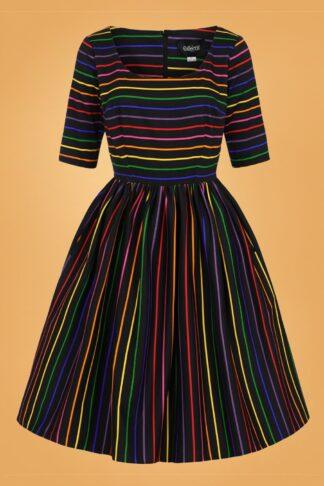 50er Amber-Lea Dark Rainbow Swing Kleid in Multi