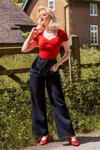 50er Audrey Jeans in Indigo Blau