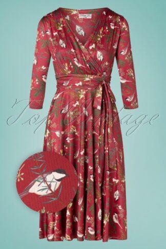 50er Caryl Bird Swing Kleid in Weinrot