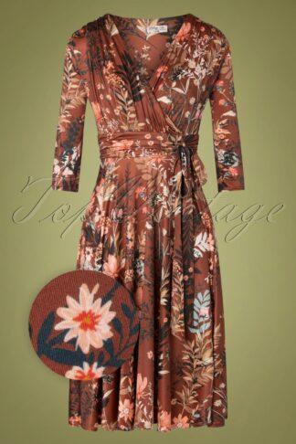 50er Caryl Floral Swing Kleid in Cognacbraun