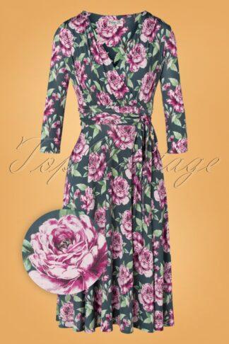50er Caryl Floral Swing Kleid in Grau Grün