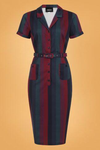 50er Caterina Jewel Stripe Bleistift Kleid in Blau und Rot