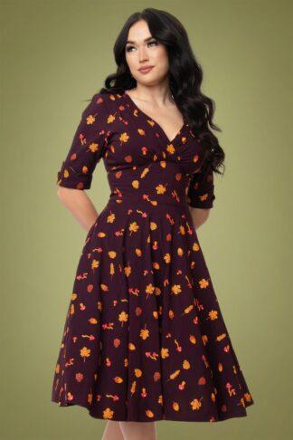 50er Delores Herbstlaub Kleid in Dunkelviolett